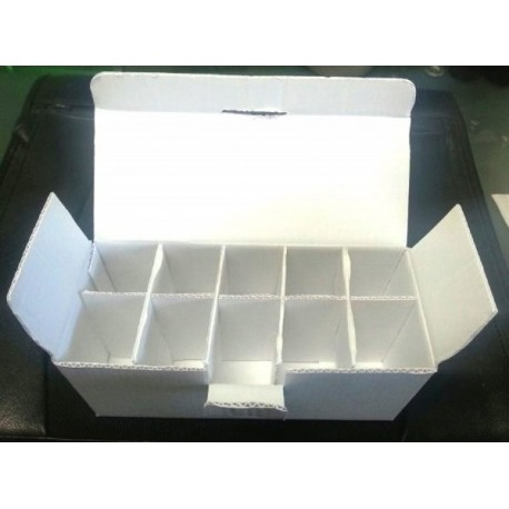 White cardboard vial boxes, Treasure Chest, 10x10mL case, Pack of 5