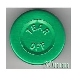 Green 30mm Center Tear Vial Seals, Pk 250