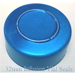 32mm Infusion Vial Seals, Blue, Pack of 100