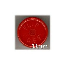 13mm Flip Off Vial Seals, Red, Pack of 100