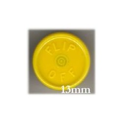 13mm Flip Off Vial Seals, Yellow, Pack of 100