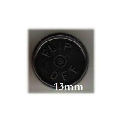 13mm Flip Off Vial Seals, Black, Pack of 100