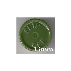 13mm Flip Off Vial Seals, Avocado Green, Pk 100