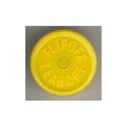 20mm Flip Off-Tear Off Vial Seals, Yellow, Pack of 100