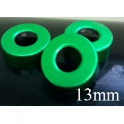 13mm Open Hole Vial Seal, Green, Bag 1000