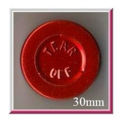 Red 30mm Center Tear Vial Seals, Pk 250