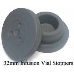 32mm Round Bottom Infusion Vial Stopper, Gray, Pk 100