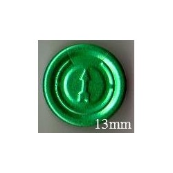 13mm Complete Tear Off Vial Seals, Green, Pk 100